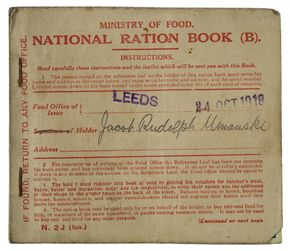 Ration book. Jacob Rudolph Muranski. Leeds, 24 October 1918. © Jewish Museum