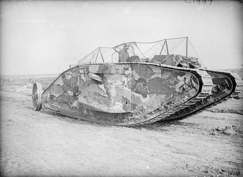 The first official photograph taken of a Tank going into action, at the Battle of Flers-Courcelette, 15/09/1916. © IWM (Q 2488)