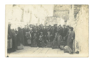 Sailors from HMS Temaire, Western Wall, Jerusalem. 14/02/1919