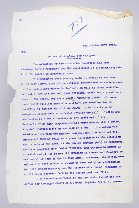 Draft letter addressed to the Secretary of the War Office, re Jewish Chaplain for the East, on 8th October 1915, from the Visitation Committee. ©Jewish Museum London/Jewish Military Museum