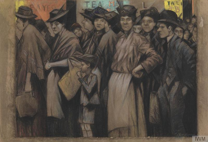 Nevinson, C R W. A crowd of grey-faced women, men and children wait in a queue for food. 1918. © IWM (Art.IWM ART 840)
