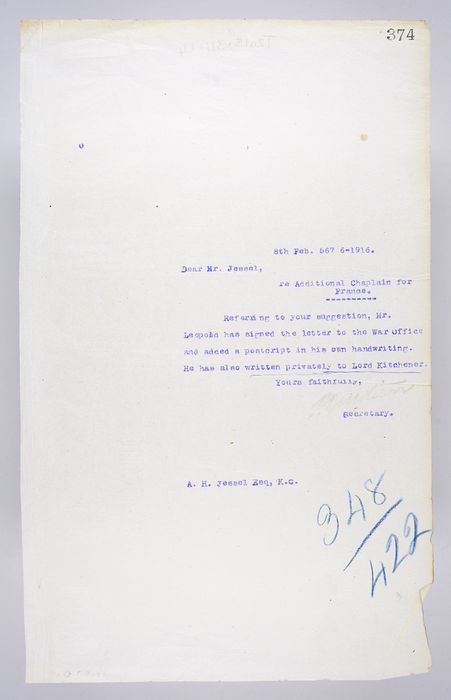 Draft letter addressed to Mr. Jessel, re Additional Chaplain for France,  from P. Ornstein, Secretary of the United Syngagoue, on 8th February 1916. ©Jewish Museum London/Jewish Military Museum