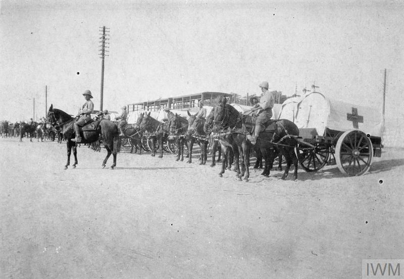 Medical Service in Palestine. Ambulance waggons in the desert. © IWM (Q 81516)