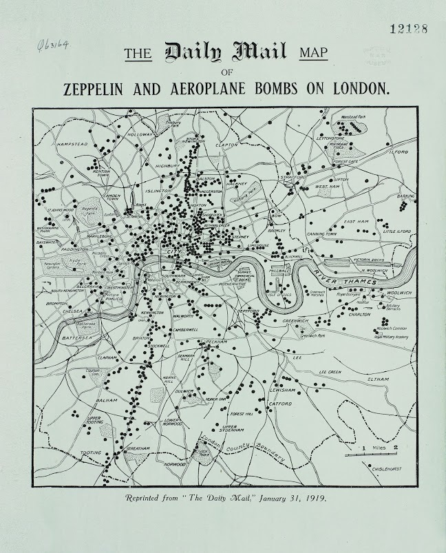 The Daily Mail Map of Zeppelin and Aeroplane Bombs on London. 31st January 1919.