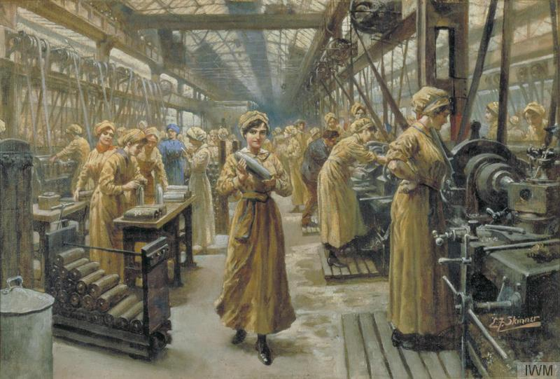 The interior of a munitions factory with female workers making shells. Skinner, Edward F. 1918 © IWM (Art.IWM ART 6513)