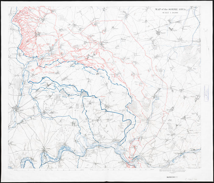 Map of the Somme area. Dec.1916. Held by British Library. Public Domain