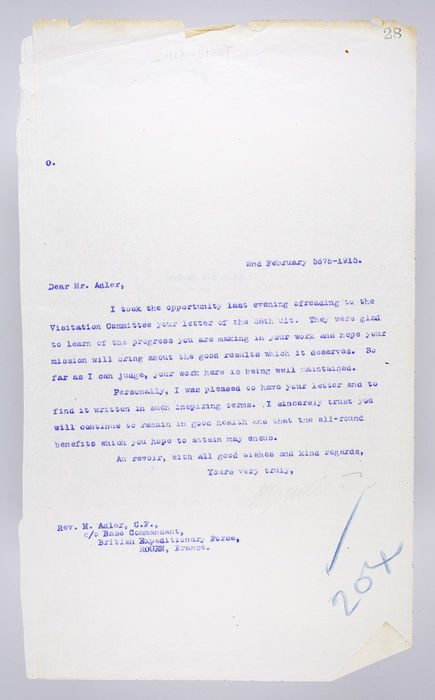 Draft letter to Rev. Michael Adler from P. Ornstein, Secretary of the United Synagogue, 2nd February 1915. ©Jewish Museum London/Jewish Military Museum