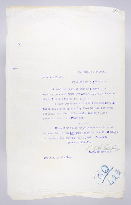 Draft letter to Corporal Felix A. Davis from P. Ornstein, Secretary of the United Synagogue re Furlough - Passover, on 9th February 1916. ©Jewish Museum London/Jewish Military Museum