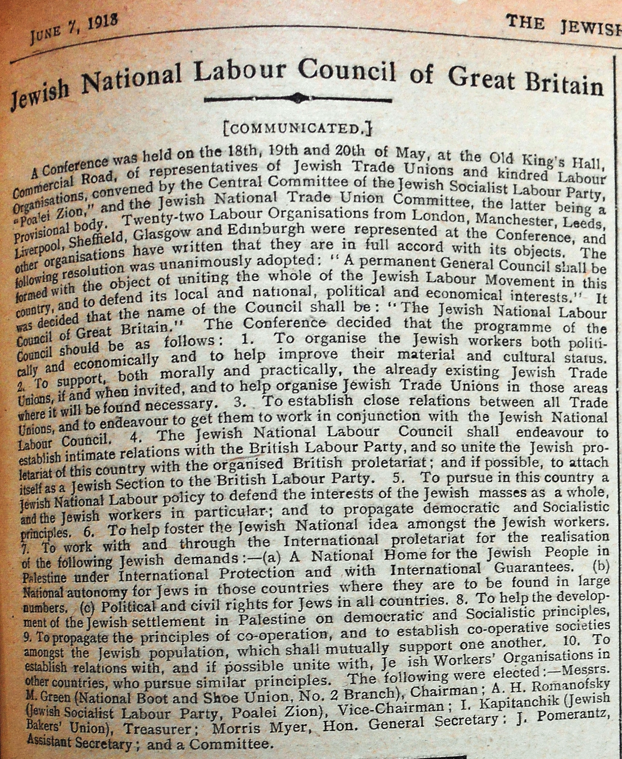 Jewish National Labour Council of Great Britain. Jewish Chronicle, 7 June 1918.