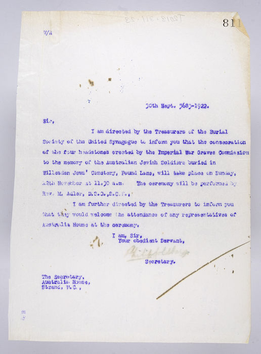 Draft letter to The Secretary, Australia House, from the Secretary of the Burial Society, on 30th Sepetember 1922. ©Jewish Museum London/Jewish Military Museum