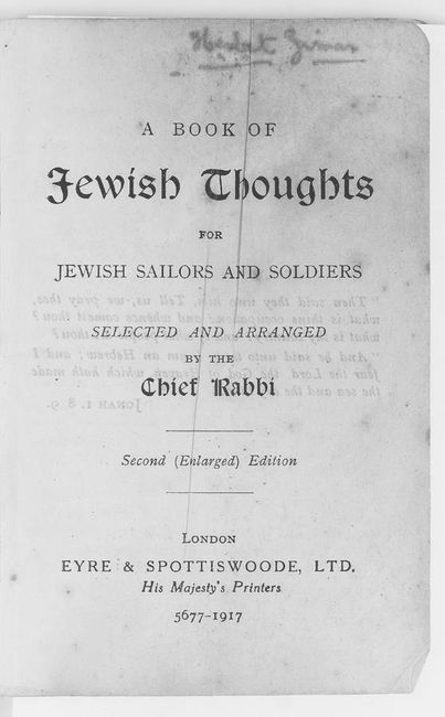 Book of Jewish thoughts by the Chief Rabbi. p.2