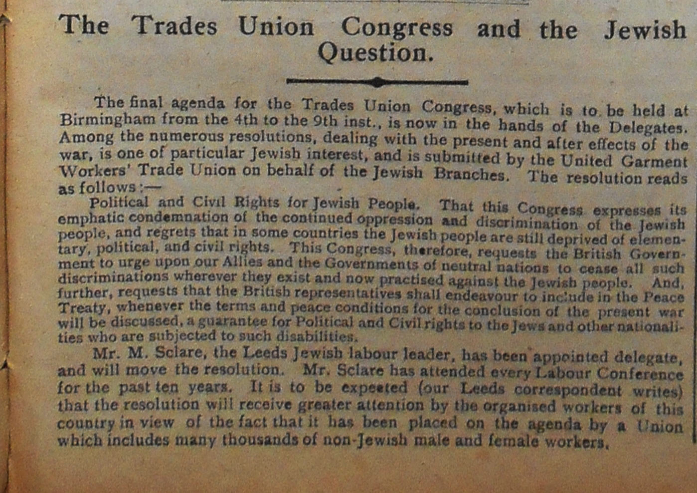 The Trades Union Congress and the Jewish Question. Jewish Chronicle, 1 September 1916.