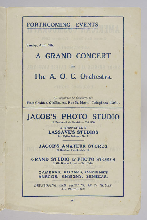 ALEX. DISTRICT MILITARY CONCERTS AND ENTERTAINMENTS ORGANISATION. Programme of Grand Evening Concert. ©Jewish Museum London/Jewish Military Museum