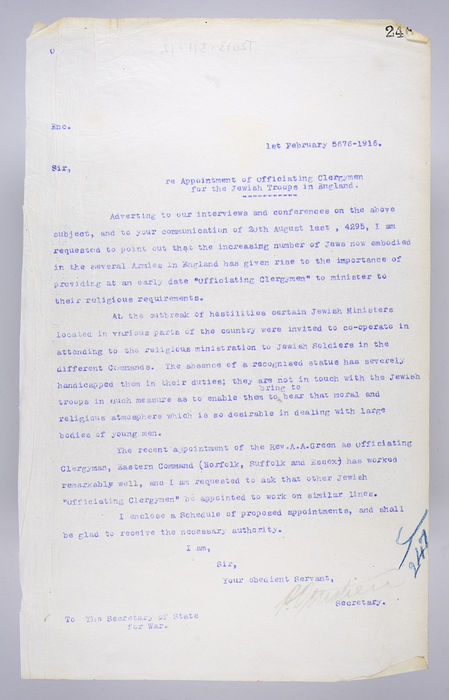 Draft letter addressed to the Secretary of State for War, Appointment of Officiating Clergymen for the Jewish Troops in England, from P. Ornstein, Secretary of the United Syngagoue, on 1st February 1916.  ©Jewish Museum London/Jewish Military Museum