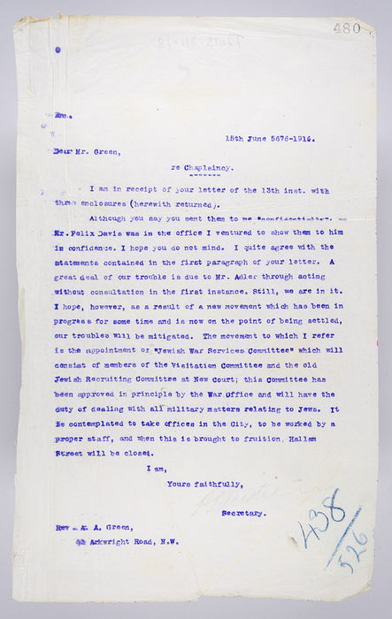 Draft letter to Rev. A. A. Green,  from P. Ornstein, Secretary of the United Synagogue, on 15th June 1916, re Chaplaincy. ©Jewish Museum London/Jewish Military Museum