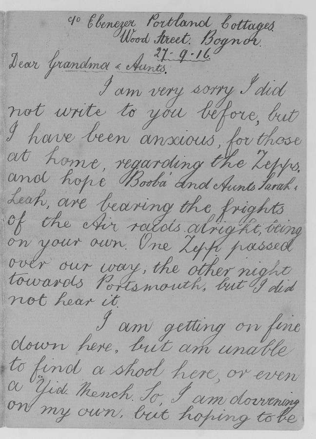 Letter from a child sent to live in Bognor because of German Zeppelin raids on London. © Jewish Museum London