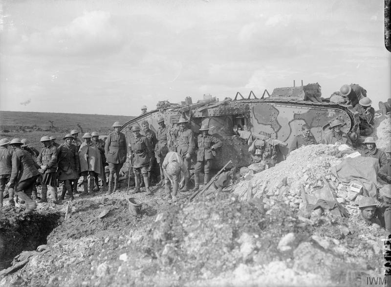 Battle of Flers-Courcelette. A Brigadier and his staff outside Tank 17 of D Company 21/09/1916. © IWM (Q 2487)