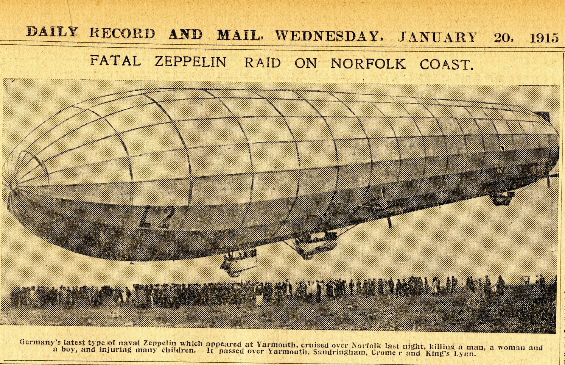 Zeppelin attack on Great Yarmouth. January 1915