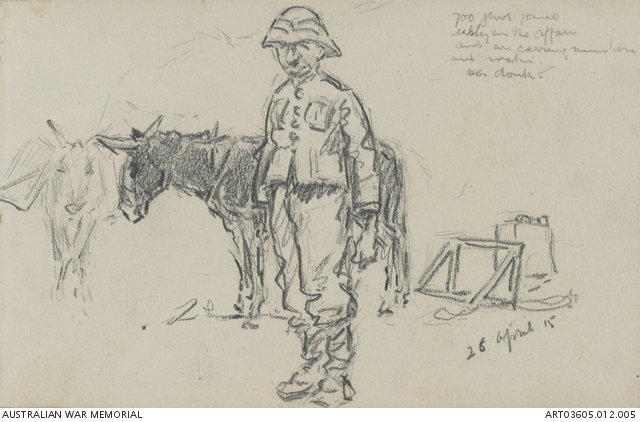 Sketch of a member of the Zion Mule Corps in uniform standing in front of two donkeys. © Australian War Memorial