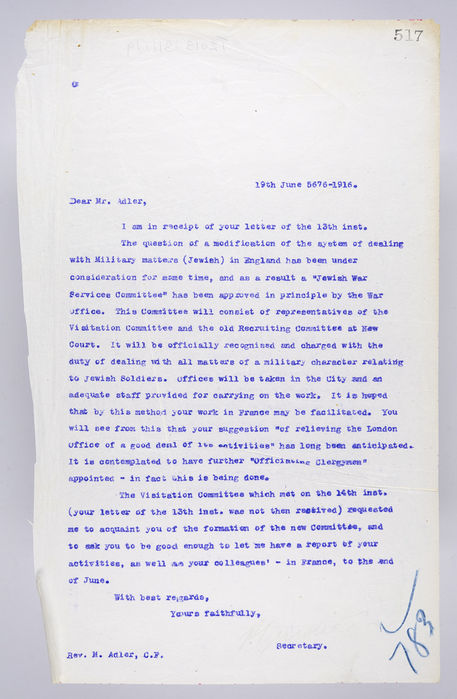 Draft letter to Rev.Micahel Adler, from P. Ornstein. ©Jewish Museum London/Jewish Military Museum