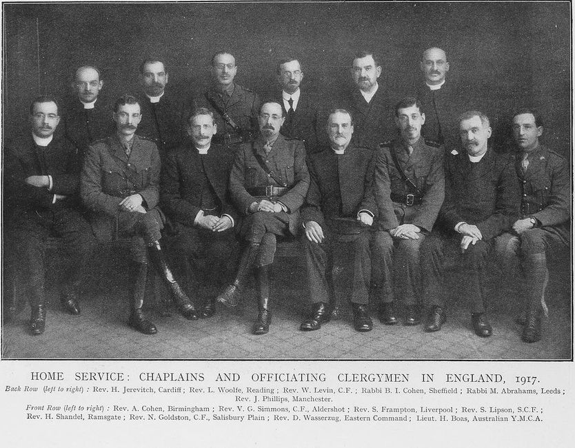 Jewish chaplains and clergymen who officiated in England during World War I.