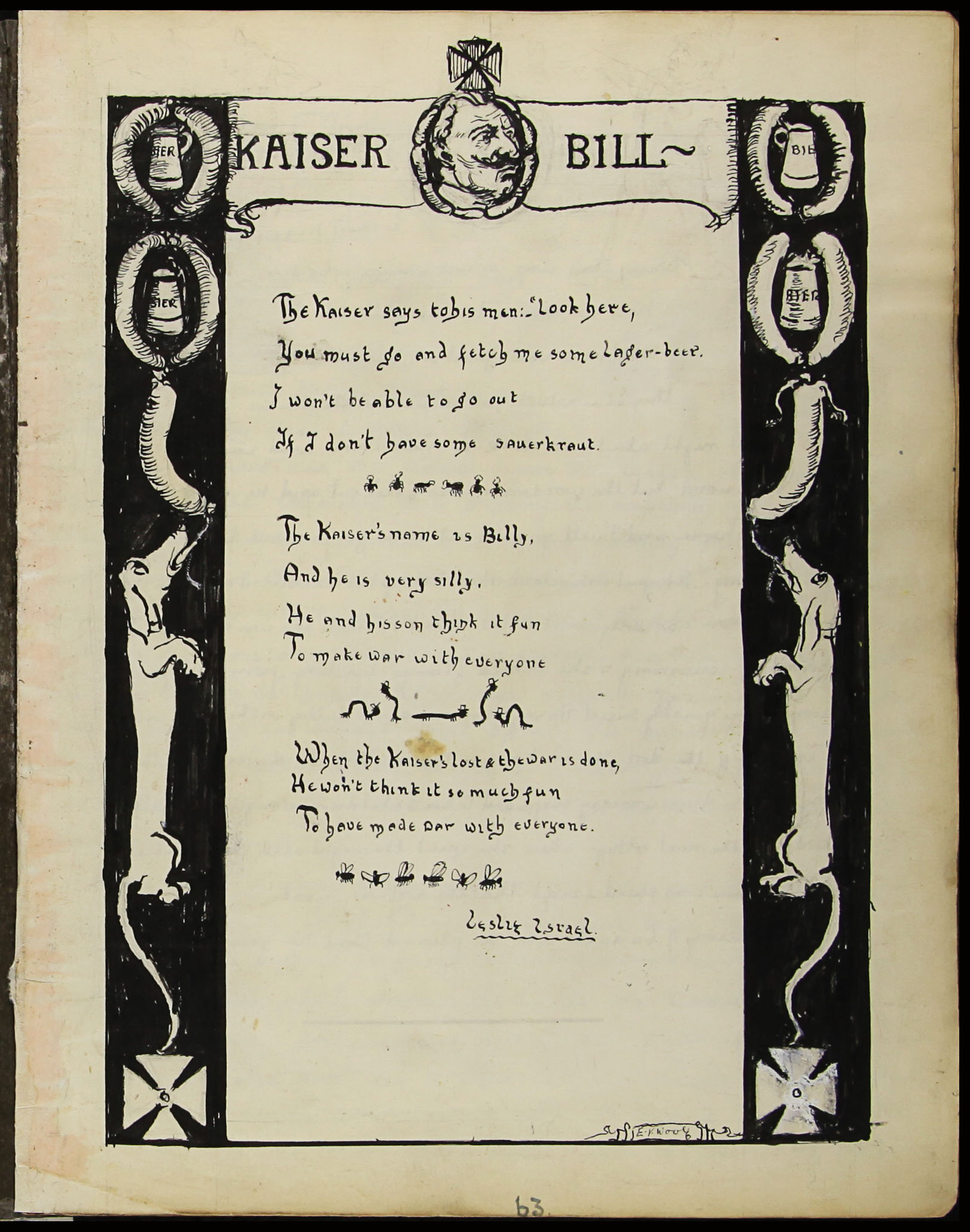 L Israel and E. Y. Woolf. Kaiser Bill. Poem and illustration. 1915