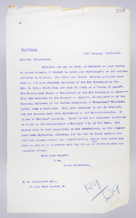 Draft letter to Mr Beddington from P. Ornstein. ©Jewish Museum London/Jewish Military Museum