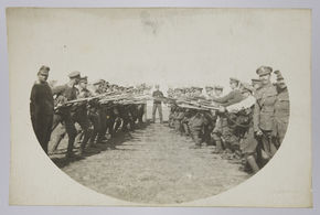 "Postcard photograph. Royal Fusiliers, 38th - 42nd Battalions the ""Judeans"". ©Jewish Museum London/Jewish Military Museum"