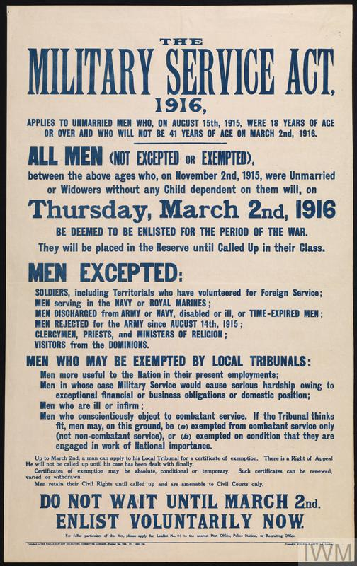 The Military Service Act 1916. Parliamentary Recruiting Committee Poster. © IWM (Art.IWM PST 5161)