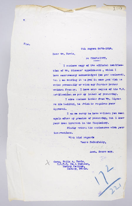 Draft letter to Felix A. Davis from P. Ornstein, Secretary of the United Synagogue re Chaplaincy to H.M. Forces, 6th August 1915. ©Jewish Museum London/Jewish Military Museum