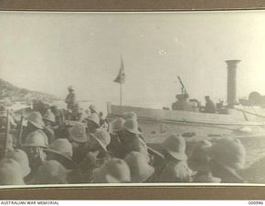 Gallipoli Peninsula, Turkey. 5 May 1915. The Zionist Corps leaving Anzac. Courtesy of Australian War Memorial