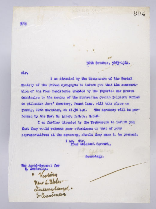 Draft letter to the Agent-General for Australia, from the Secretary of the Burial Society, on 30th October 1922. ©Jewish Museum London/Jewish Military Museum