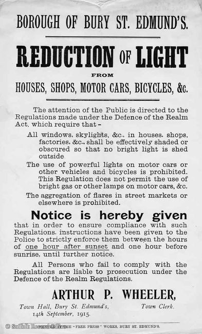 Poster about the importance of reducing light output at night by Arthur Wheeler,  1915. © Suffolk Record Officer