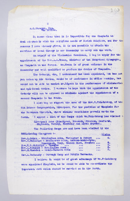 Draft letter to A.C.Strange Esq. of the War Office, from The Visitation Committee. 4th August 1915. ©Jewish Museum London/Jewish Military Museum
