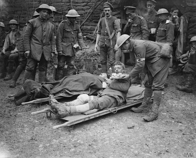 The Battle of the Somme. Battle of the Ancre. British wounded at a Dressing Station. Aveluy Wood, 13 November 1916 © IWM (Q 4506)