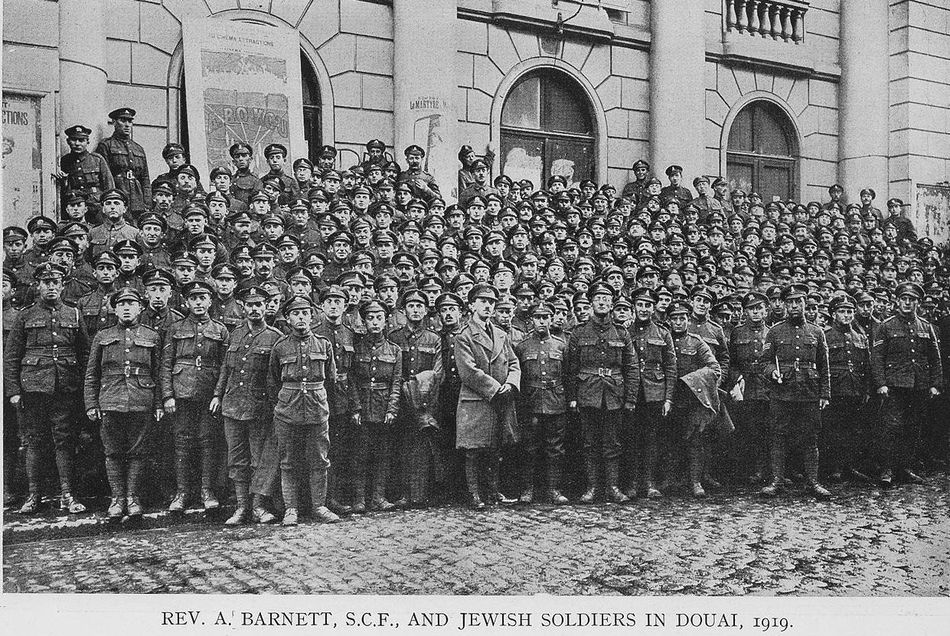 Jewish soldiers in Douai, France, with Rev. A Barnett, 1919