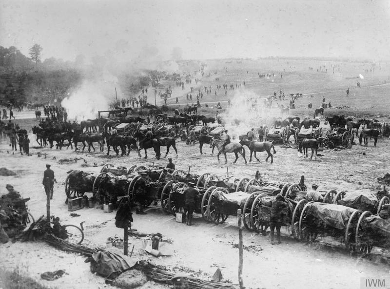 The Battle of the Somme. A transport camp behind the lines at Mailly-Maillet, July 1916. © IWM (Q 726)