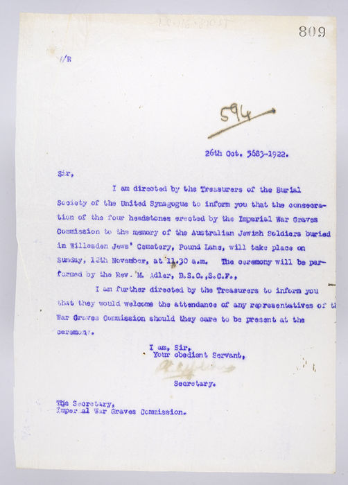 Draft letter to the Secretary of the Imperial War Graves Commission, from the Secretary of the Burial Society, on 26th October 1922. ©Jewish Museum London/Jewish Military Museum