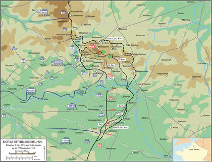 Map of the Battle of the Somme 1916 web