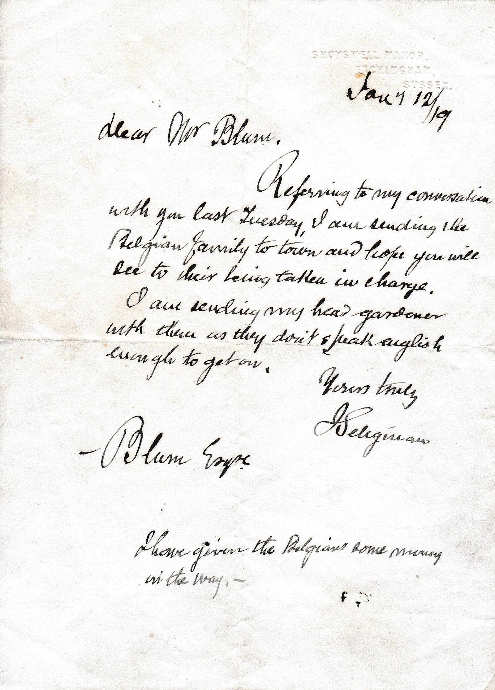 Letter to Jacques Blom related to a Belgian refugee family.
