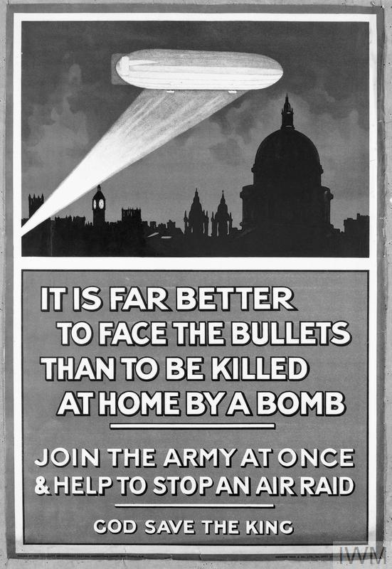 A First World War recruiting poster which used the menace of the Zeppelin to encourage men to enlist. 1915. © IWM (Q 80366)