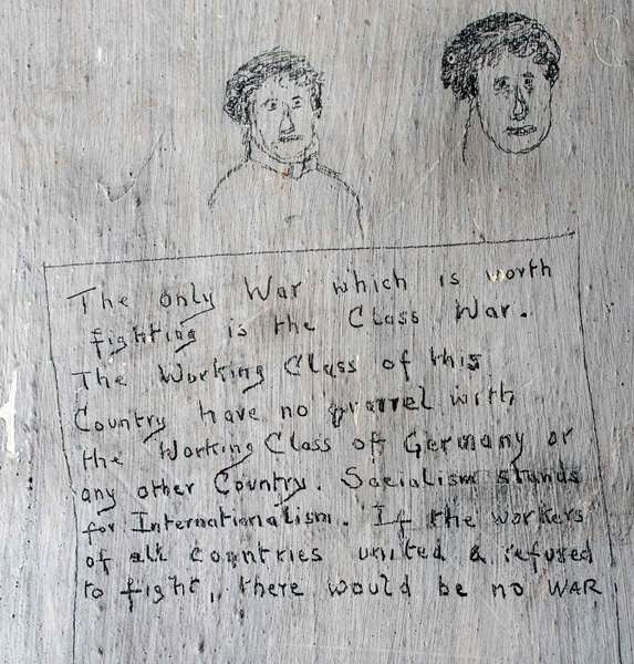 The War Class. Graffiti drawn by conscientious objectors at at Richmond Castle during the First World War. © English Heritage