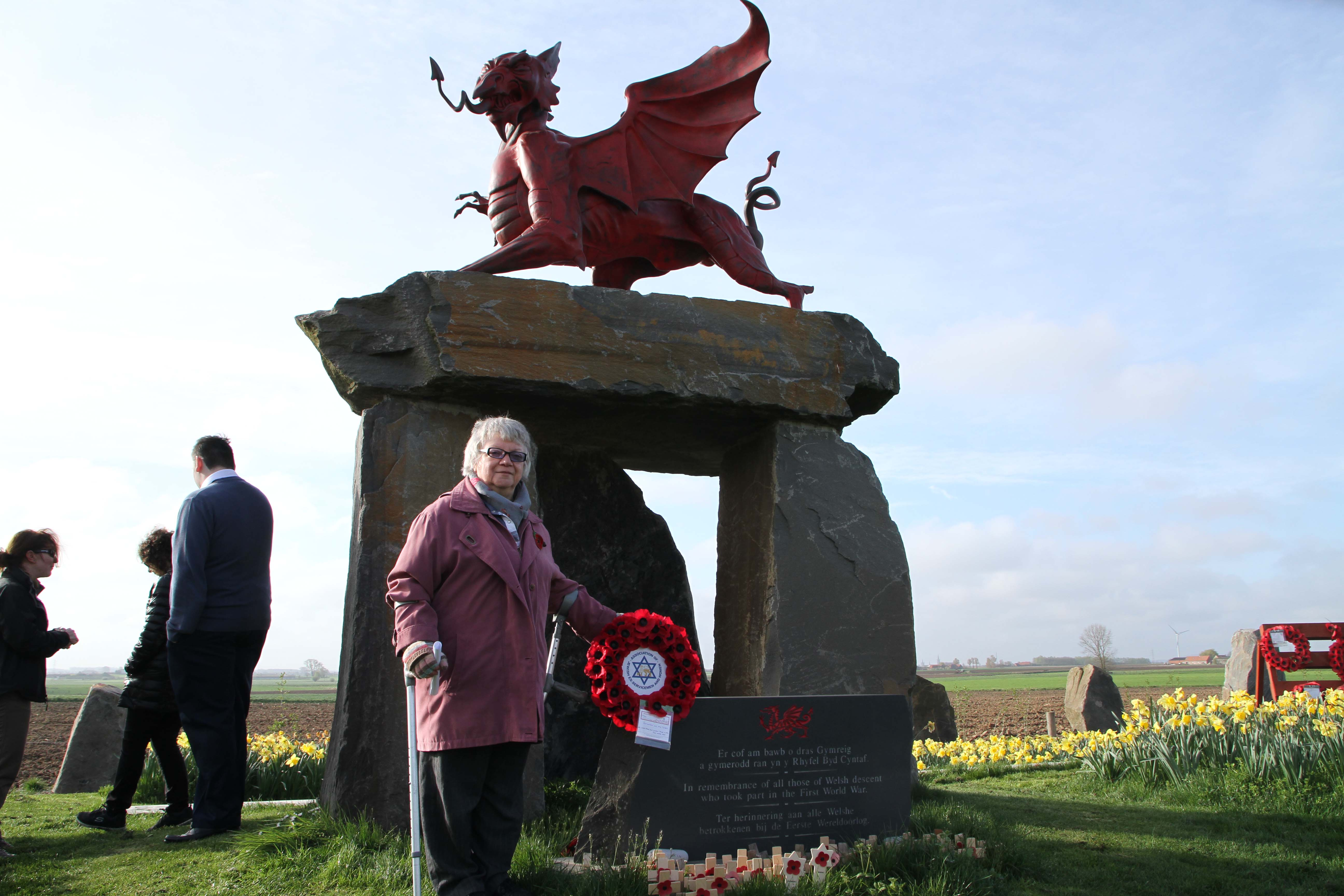 Trishia and wreath at Welsh Memorial Park. We Were There Too trip to Ypres, April 2017. By Alan Brill, Voluntary Photographer