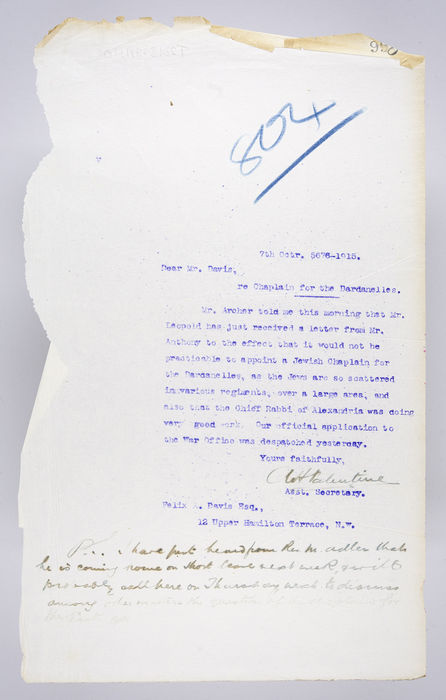 Draft letter to Corporal Felix A. Davis from the United Synagogue. ©Jewish Museum London/Jewish Military Museum