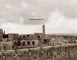 Zeppelin over David's Tower and the Jerusalem Citadel. 1931