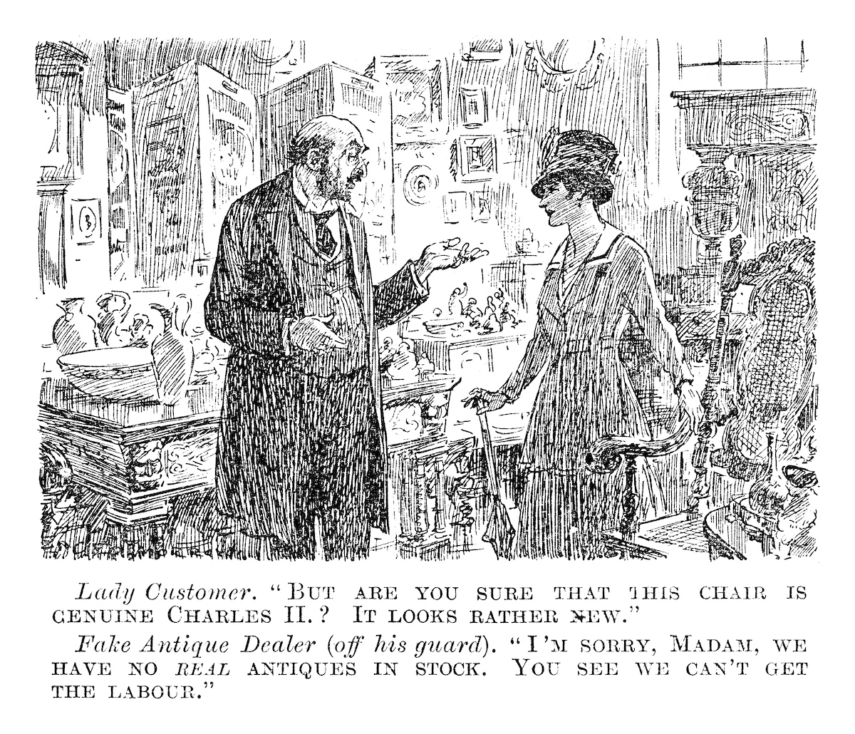 Antique Dealer. Punch magazine, May 1917. © Punch Limited