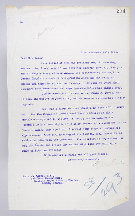 Draft letter to Rev. Michael Adler from P. Ornstein, Secretary of the United Synagogue, 10th February 1915. ©Jewish Museum London/Jewish Military Museum