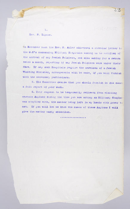 Draft letter to Rev. S Lipson re Assistant Chaplaincy to H.M. Forces, 2nd February 1915, from P Ornstein, Secretary of the United Synagogue. ©Jewish Museum London/Jewish Military Museum