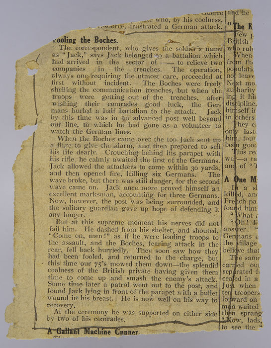Newspaper (unknown) concerning  Jack Melnick. ©Jewish Museum London/Jewish Military Museum