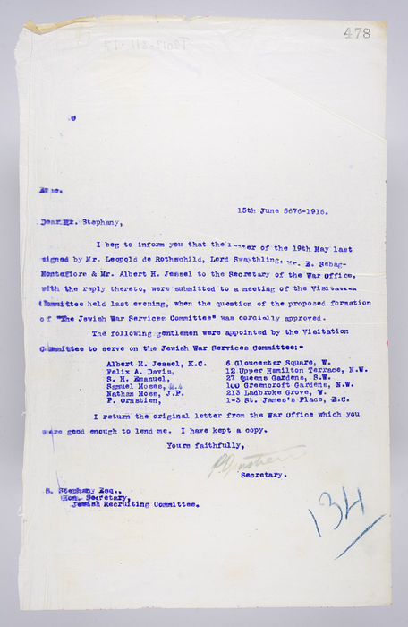 Draft letter to Mr. Stephany, Hon. Secretary of the Jewish Recruiting Committee, from P. Ornstein, Secretary of the United Synagogue, on 15th June 1916. ©Jewish Museum London/Jewish Military Museum